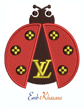Louis Vuitton LV Ladybug Logo Machine Embroidery design
