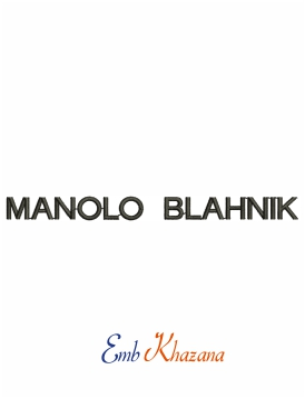 Manolo Blahnik logo machine embroidery design