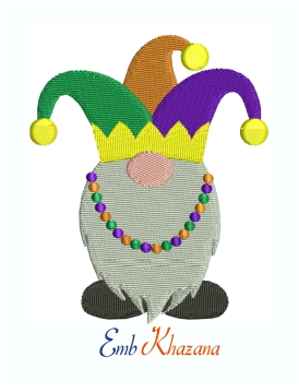 Mardi Gras Gnomes Machine Embroidery Design