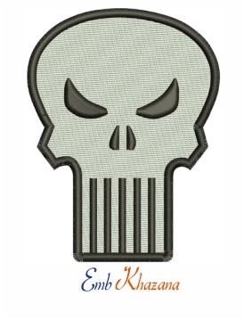 Marvel Comics Punisher Skull logo embroidery design
