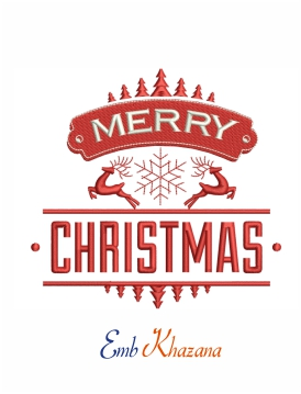 merry christmas deer embroidery design