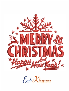 Merry Christmas and new year embroidery design
