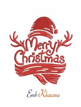merry christmas antler embroidery design