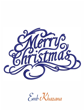 merry christmas greetings embroidery design