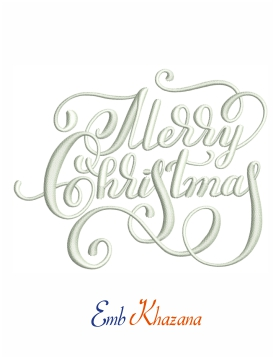 Merry Christmas calligraphy embroidery design