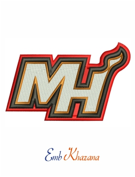 Miami Heat symbols logo embroidery design