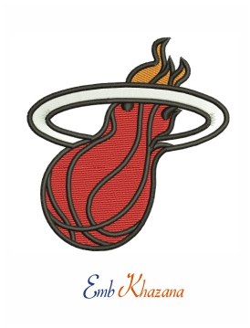 miami heat logo embroidery design