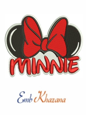 Minnie Ears with bow embroidery design