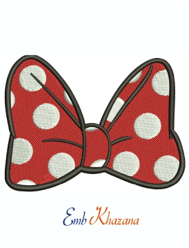 Minnie Mouse Bow Machine Embroidery Design
