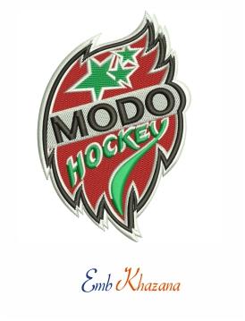 Modo hockey Logo embroidery design