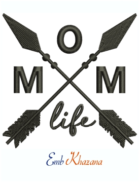 Mom Life Crossed Arrows Machine Embroidery Design