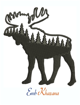 Moose Pine Tree Logo Machine Embroidery Design