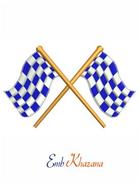 Motor flag embroidery design