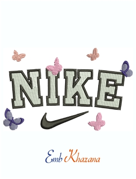 Nike Multi colour Butterfly Logo Machine Embroidery Design