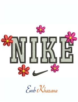 Nike Floral Logo And Symbol Machine Embroidery Design