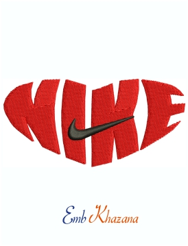 Nike Heart Shaped Logo and symbol Machine Embroidery Design