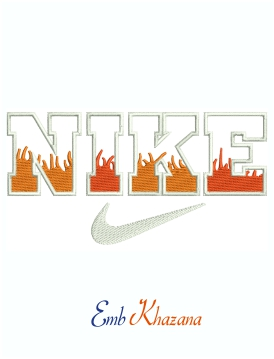 Nike Flam Logo And Symbol machine embroidery design