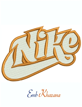 Nike Orange And White Logo machine embroidery design