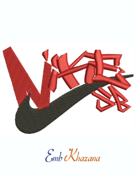 Nike Black And Red Logo machine embroidery design