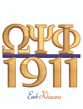 Omega Psi Phi 1911 3d Puff cap Embroidery Design For Machine