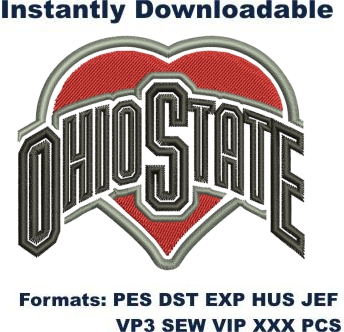 Ohio State Buckeyes football logo embroidery design