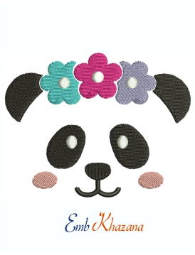 Panda Face With Flower Crown Machine Embroidery Design