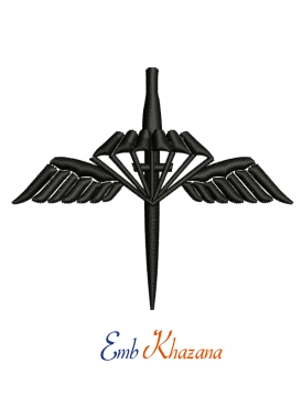 Parachute With Sword Embroidery Design
