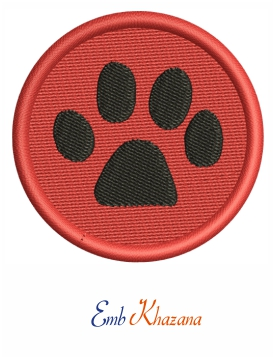 Paw In Circle Embroidery Design