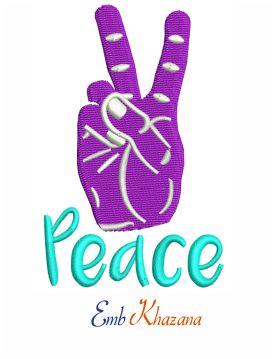 Peace Hand Embroidery Design