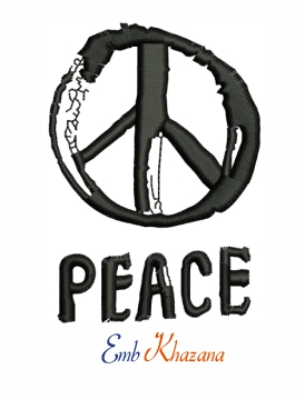 Peace sign logo embroidery design