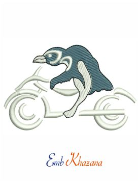 Penguin Riding Motorcycle Embroidery Design