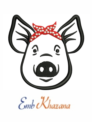 Pig with Bandana embroidery designs