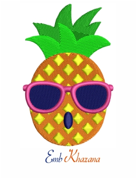 Pineapple wearing glass embroidery design