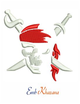 Pirate skull and crossbones embroidery design