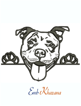 Pit Bull Terrier Logo Machine Embroidery Design