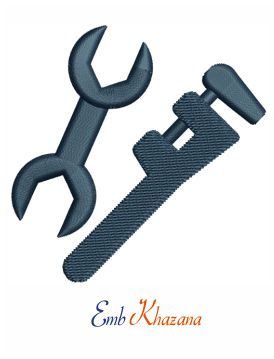 Plumber tools embroidery design