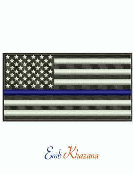 Thin Blue Line American Flag Machine Embroidery Design