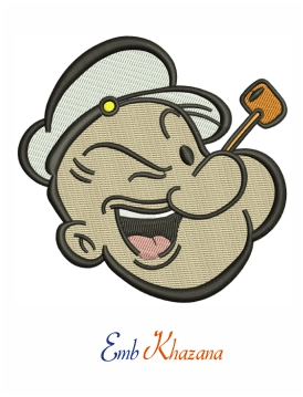 Popeye Face Embroidery Design