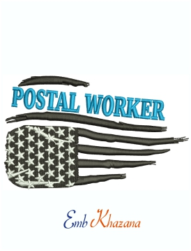 Postal Worker Flag machine embroidery design