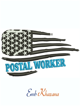 Postal Worker American Flag machine embroidery design