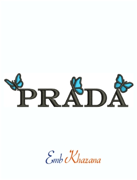 Prada With Butterfly Machine Embroidery Design