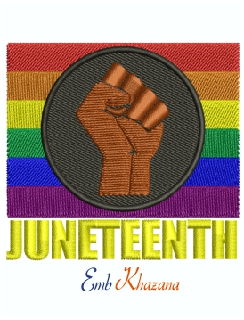 Pride Fist Juneteenth embroidery design