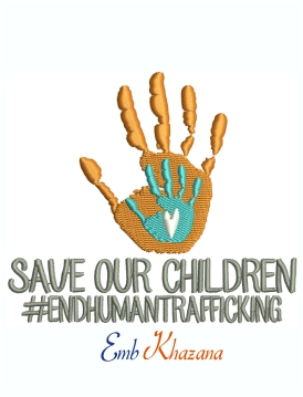 Save Our Children Hand Palm Machine Embroidery Design