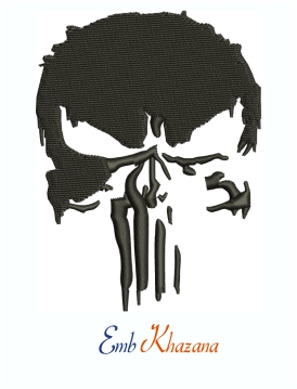 Punisher Skull Grunge Machine Embroidery Design