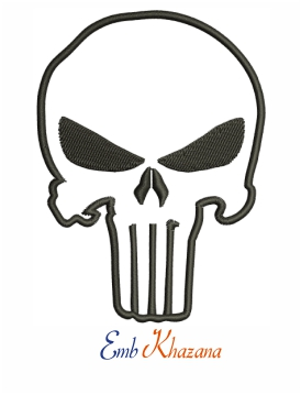Punisher Skull logo machine embroidery design