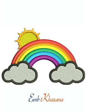 Rainbow With Cute Clouds And Sun Machine Embroidery Design