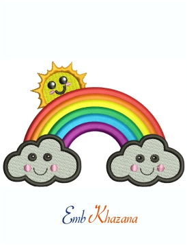 Rainbow With Happy Clouds And Sun Machine Embroidery Design