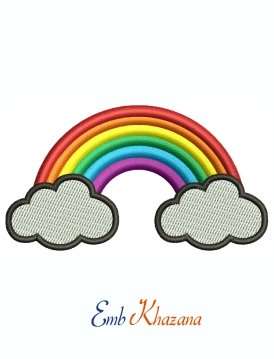 Rainbow Cloud Gate Machine Embroidery Design