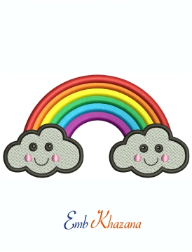 Rainbow And Smiling Clouds Machine Embroidery Design