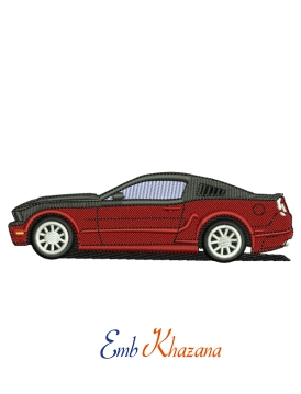 Red Mustang Car Embroidery